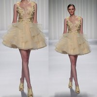 Wholesale Sexy Stylish Party Dresses - Fluffy Tulle Mini Homecoming Dresses Sexy Open V-Neck Sequins Handmade Flowers Short Prom Dresses Stylish Lovely Cocktail Dress Party Gowns