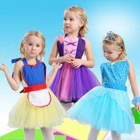 Wholesale Princess Style Apron - Baby girls snow White Belle Rapunzel princess apron TuTu dress Elsa Anna Dance clothes pinafore Kids Halloween costume 6 styles C2473