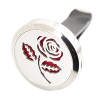 Wholesale circles car resale online - One Rose Flower mm Aromatherapy Essential Oil surgical Stainless Steel Pendant Perfume Diffuser Car Lockets Include Felt Pads