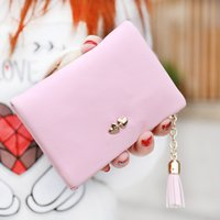 Atacado- Carteira de couro NewFashion Small Ladies Wallet Tassels Short Purse Mulher Zipper Hasp LOVE Rivet Clutch Cion Pocket Card Holder