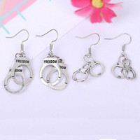 Wholesale Charm Handcuff - European Charms Silver Handcuffs Earrings 50 Fifty Shades of Grey Alloy Hook Earring for women ladies