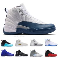 Wholesale Cheap Satin Shoes - [With Box] Cheap Air retro 12 XII Mans Basketball Shoes Sneakers Women Taxi Playoffs Gamma Blue Grey Sports Running Shoes For men US 5.5-13