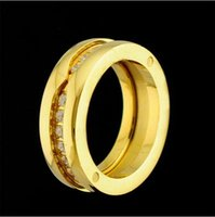 Wholesale Titanium Crystal Wedding Rings - Single Row Rhinestone Rings,Yellow gold Rose gold  Silver Metal colors 316L Titanium Stainless Steel Women Men Wedding  Engagement Jewelry