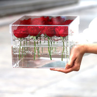 Wholesale Organizer Acrylic - factory supply 2017 latest Fashion Clear Acrylic Flower Rose Box Jewelry Cosmetic Organizer Gift Box For Wife Girlfriend With Cover