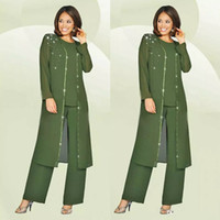Wholesale orange blue wedding outfits - Green Plus Size Mother Of The Bride Pants Suit With Long Jacket For Weddings Mother's Groom Outfit Beads Wedding Guest Dress