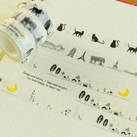 Wholesale- 2016 1 Pc / Pack Nouveau 15 Mm * 10m Cartoon Black Cat Moon Tower Print Japonais Papier Washi Tapes Masking Tape Decorative Adhesive