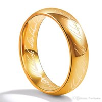 Wholesale Personalized Jewelry Wholesale - Stainless Steel Lord of the Rings Gold Color Titanium Steel Rings Women Men Fashion Personalized Ring Jewelry