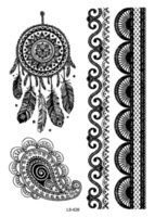 Wholesale Eye Tattoos Stickers Lace - Wholesale-LS626 21*15cm Big Tattoo Sticker Hanna Female Black Lace Bride Temporary Flash Tattoo Stickers Body Art Indian Tribe Tatoos
