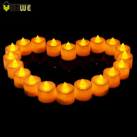 Wholesale plastic led electronic candle - 24 Pcs Flameless Ficker Plastic Electronic Candle Battery Led Tea Lights Candles For Christmas Party Birthday Wedding Decoration
