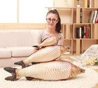 Wholesale grass carp - Wholesale- New Hot Grass Carp Pillow PP Stuffed Plush Animal Fish Toy 35cm 14inch 1pcs Free Shipping Children Christmas Birthday Gift