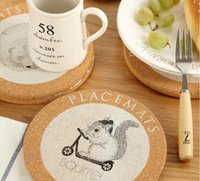 Visual Touch Cute Animal Coaster en liège Coaster Retro Style Coffee Cup Mat Tea Pad 4 Décoration de table de style