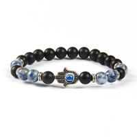 New Arrival Hommes Beaded Jewelry Wholesale 8mm Mat Agate, Sodalite Jasper Stone Beads Protection Bracelets Hamsa