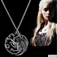 Wholesale Song Ice - Best Quality Song Of Ice And Fire Game Of Thrones Targaryen Dragon Badge Necklace C54-C56