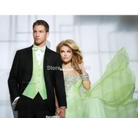 Wholesale Terno Noivo Fit - Custom Made Groom Tuxedo Terno Para Noivo, Bespoke Black suits with green pinstripe vest, Tailor Made Wedding Suits for men.