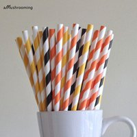 Grossiste-Orange Jaune noir rayé Pailles de papier Construction Party Supplies Decor Bar Panier Accessoires Cake Pop Sticks Graduation Party