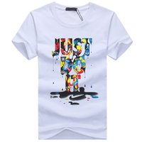 Wholesale New Modal Man Shirt - 2017 New Letter Print T Shirt Mens Black And White Comic Con Cosplay T-shirts Summer Skateboard Tee Boy Skate Tshirt Tops F998