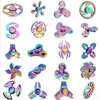 Wholesale Rainbow Designs - Rainbow Metal Spinner 20 Designs Zinc Alloy Hand Spinner Diecasting Metal Spinners Colorful EDC Fidget Spinners Decompression Toys