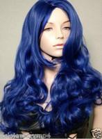 peluca rizada azul oscuro al por mayor-Nueva cosplay Fashion Long Curly Dark Blue peluca