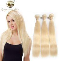 Wholesale Cheap 24 Blonde Weft Hair - Queenlove 613 Blonde Virgin Hair straight 3pcs brazilian Virgin Hair Straight human hair extension 7A cheap Brazilian Weave #613