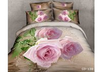 Wholesale Cotton Comforter Quilt - In Stock 3D Floral Printed Bedroom Bedding Sets 100% Cotton King Size Four Pieces Quilt Duvet Cover Bedspread Pillow Cases