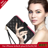 Wholesale iphone 6s flip phone case - Luxury Noble Brand CC Leather Flip Wallet Cover For iPhone X plus Phone Case for iPhone s plus Fashion Girl Gift Lanyard Case