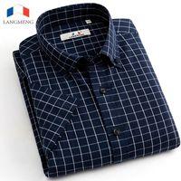 Wholesale Mens Stripped Shirts - Wholesale- Langmeng 2016 Summer 100% Cotton plaid Casual shirts Mens Dress Shirt men Short Sleeve Male Thin Strip social Camisa Musculia