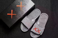 Wholesale Summer Cool Slippers - Free Shipping 2017 Summer KAWS Hydro 4 Slides Mens RETRO 4 Cool Grey Slippers
