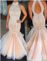 Wholesale High Neck Halter Tops - New Halter Neck Mermaid Prom Dresses High Neck Champagne Keyhold Back Tulle Beaded Rhinestones Top Floor Length Party Evening Dresses