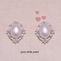 Wholesale Pure Silver Buttons - (J0859)25mmx32mm rhinestone button rhinstone cluster,silver plating,flat back,100pcs lot,ivory or pure white pearl in middle