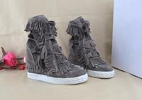 saçak paçalı ayak bileği botları toptan satış-Ücretsiz Kargo Sıcak Satış Fringe Süet Kama Çizmeler Yüksekliği Artan Dantel up Ayak Bileği Patik Püsküller Çizmeler Kadınlar Yüksek Kalite