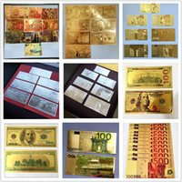 Wholesale Home Decorative Gifts - New Holiday Decoration Creative Gifts 24K Gold Foil Banknotes Novelty Home Furnishing Decorative Gift Dollar Euro Souvenir Arts Collections
