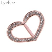 Atacado- Lychee 1 peça Silver Gold Color Heart Shape Scarf Clip Rhinestone Scarf Ring Slide Buckle Jóias para mulheres