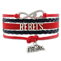Wholesale Miss Love Hearts - Custom-Infinity Love Ole Miss Bracelet Rebels Team Charm Wrap Bracelet Crimson Navy Custom Suede & Leather Sports Bracelet
