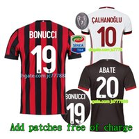Wholesale Kaka Milan - Top quality 17 18 AC Milan Home red black soccer jersey kits 2017 2018 CALHANOGLU ANDRE SILVA BACCA KAKA SUSO BONUCCI away football shirts