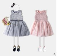 Wholesale Dress Girl Yarn Bowknot - Summer Sequins Children Girls Vest Dress Net Yarn Patchwork Splicing Sweet Sleeveless Bowknot Dress 2017 Free Shipping