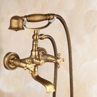 Wholesale Wall Mount Bathtub Faucets - Antique Copper Two Handles Two Holes Handshower With Ceramic Valve Centerset luxury Wall Mounted Bathtub Faucet