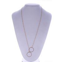 Wholesale Double Chain Circle Gold Necklace - Women Simple Alloy Double Circle Pendant Necklace Noble Simple silver gold color round Pendant Chain New Gift