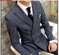 Wholesale thin lapel piece suits - Men's Blazers coat 2017 autumn new British style double-breasted Slim thin black male casual gray double-breasted suit coat