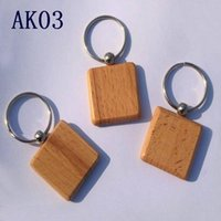 Wholesale Wood Carved Diy Gifts - Cute Customized Blank Wooden Keychains Personalized Keychain Carving DIY Rectangle Square Round Heart Shape As Ideal Gift