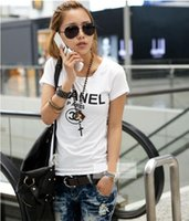 kadınlar için sevimli tee gömlek toptan satış-Yeni Baskı Kadın T Shirt 2018 Moda Yaz Yeni Slim Fit Sevimli Karikatür T-Shirt Femme Tee Gömlek Harajuku Lady Için Tops