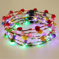 Wholesale Hair Glow Sticks - Flashing LED Tiara Headbands Boho Flowers Hairband Hawaii lei Headwear Glowing Head Wreaths for Girls Women Party Decor