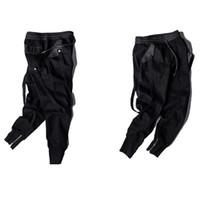 Wholesale Elastic Belting - 2017 Newest Fashion Men's Pants Big Pocket Full Length Men HIPHOP Joggers Pants Plus Size Trousers Men Belt Streetwear
