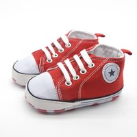 Wholesale Crochet Kids Shoe Patterns - New Red Cotton Leather Baby Moccasins Girls Boys Lace-up Bulk Soft Soled Girls Newborn Boots Shoes Kids Pattern First Walker