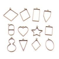 Wholesale Rectangle Pendant Trays - Sweet Bell 20pcs mix heart star oval rectangle triangle charm Hollow glue blank pendant tray bezel charms DIY Handmade H3007