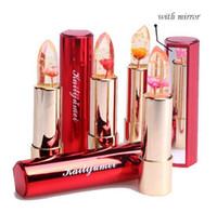 flower jelly lipstick toptan satış-Orijinal Kailijumei Ruj Nemlendirici Parlak Dudak Kozmetik Su Geçirmez Ruj Çiçek Jöle Rujlar 4 renk Kailijumei Mükemmel Ruj
