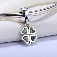 Wholesale Enamel Pendant Round - Real 925 Sterling Silver Not Plated White Enamel Four Leaves Pendant Charm European Charms Beads Fit Pandora Chain Bracelet DIY Jewelry