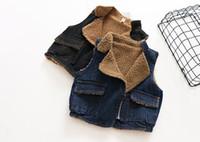 Wholesale Thick Black Girl Clothes - 2017 Autumn winter New Girl Waistcoat denim lambwool Thick vest Coat Children Clothing 2-7Y 1072