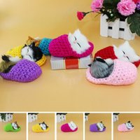 Wholesale Battery Operated Dolls - Super Cute Simulation Sounding Shoe Kitten Cat Plush Toys Kids Summon Cat Doll Christmas Birthday Gifts