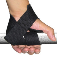 Wholesale body building bar - Wholesale- Weight Lifting Hand Wrist Training Workout Gym Wrist Support Gloves Body Building Grip Wrap Hand Bar Strap