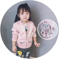 Wholesale Clothes Coats For Rabbits - Baby Girls Coats Long Sleeve Cartoon Rabbit Embroidered Wind Coat Dust Coats For Girl Infant Toddler Clothing Outwear Tops Pink Blue A7402